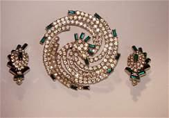 240: Stunning Hobe Faux Diamond Brooch & Earring Set