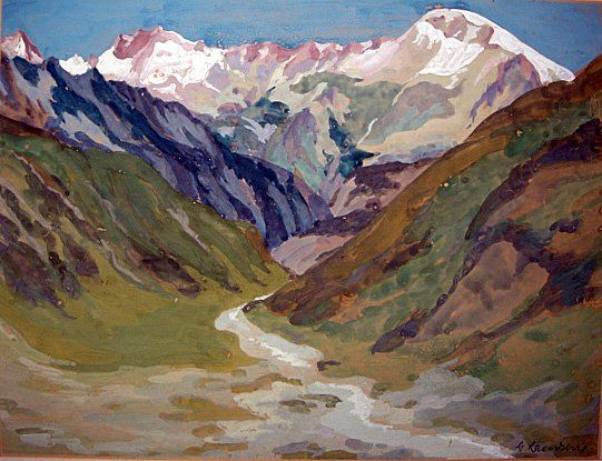 Watercolor German Alps by G Hausberg ca1940