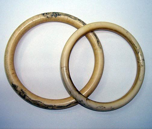 Pr Chinese Ivory Bangles Tiger Motif ca1890