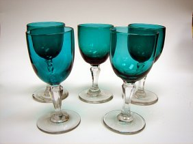 4: Set of 5 X Georgian Bristol Green Wine Glasses ca180