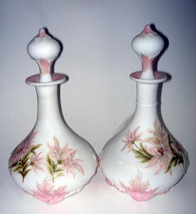 10: Pr Art Deco Burmese Glass Decorated Decanters ca192