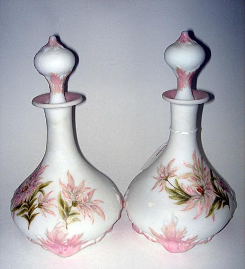 10: Pr Art Deco Burmese Glass Decorated Decanters ca192