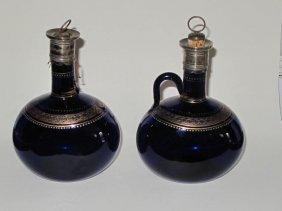 8: Pr Georgian Bristol Blue Gilt Decorated Decanters 17