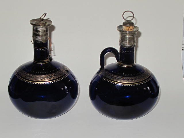 8: Pr Georgian Bristol Blue Gilt Decorated Decanters 17