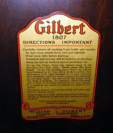 221: Gilbert 1807 Art Deco Striking Mantle Clock - 4