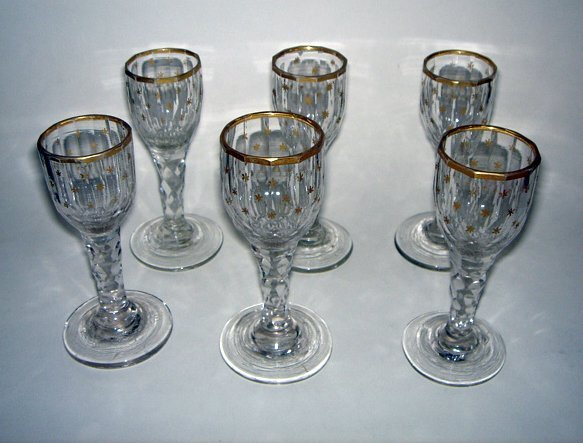 15: Set of 6 x Georgian Cordial Glasses ca1790