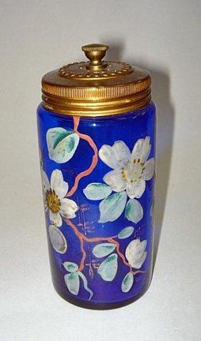 19: Moser Cobalt Blue Decorated Glass Talc Dispenser 19