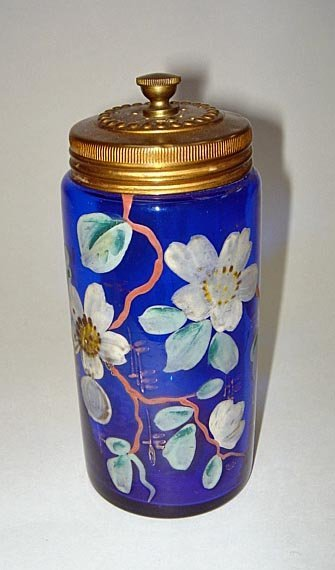 19: Moser Cobalt Blue Decorated Glass Talc Dispenser 19