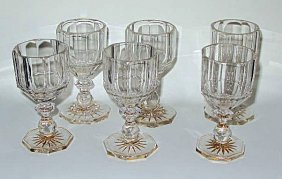 21: Rare Set 6 x Georgian Decorated Panel Cut Glasses 1
