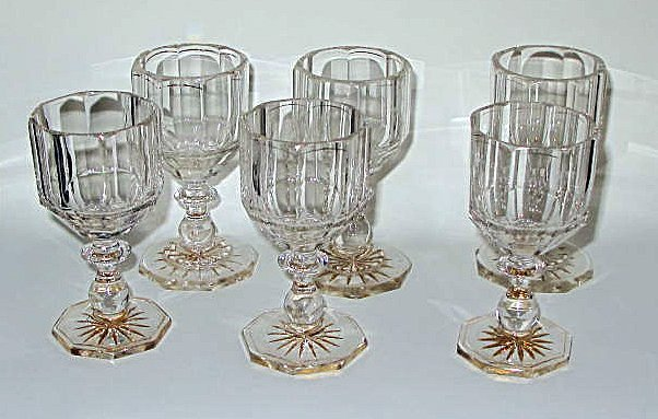 21: Rare Set 6 x Georgian Decorated Panel Cut Glasses 1