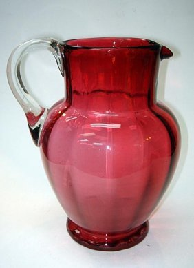 23: Large Victorian Cranberry Glass Water Cider Jug