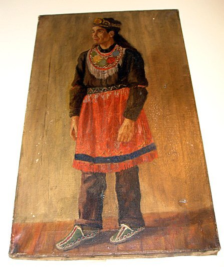 339: Rare ca1900 Painting Canadian Indian Mi'kmaq
