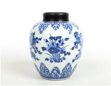 A 19th century Chinese blue and white ginger jar with