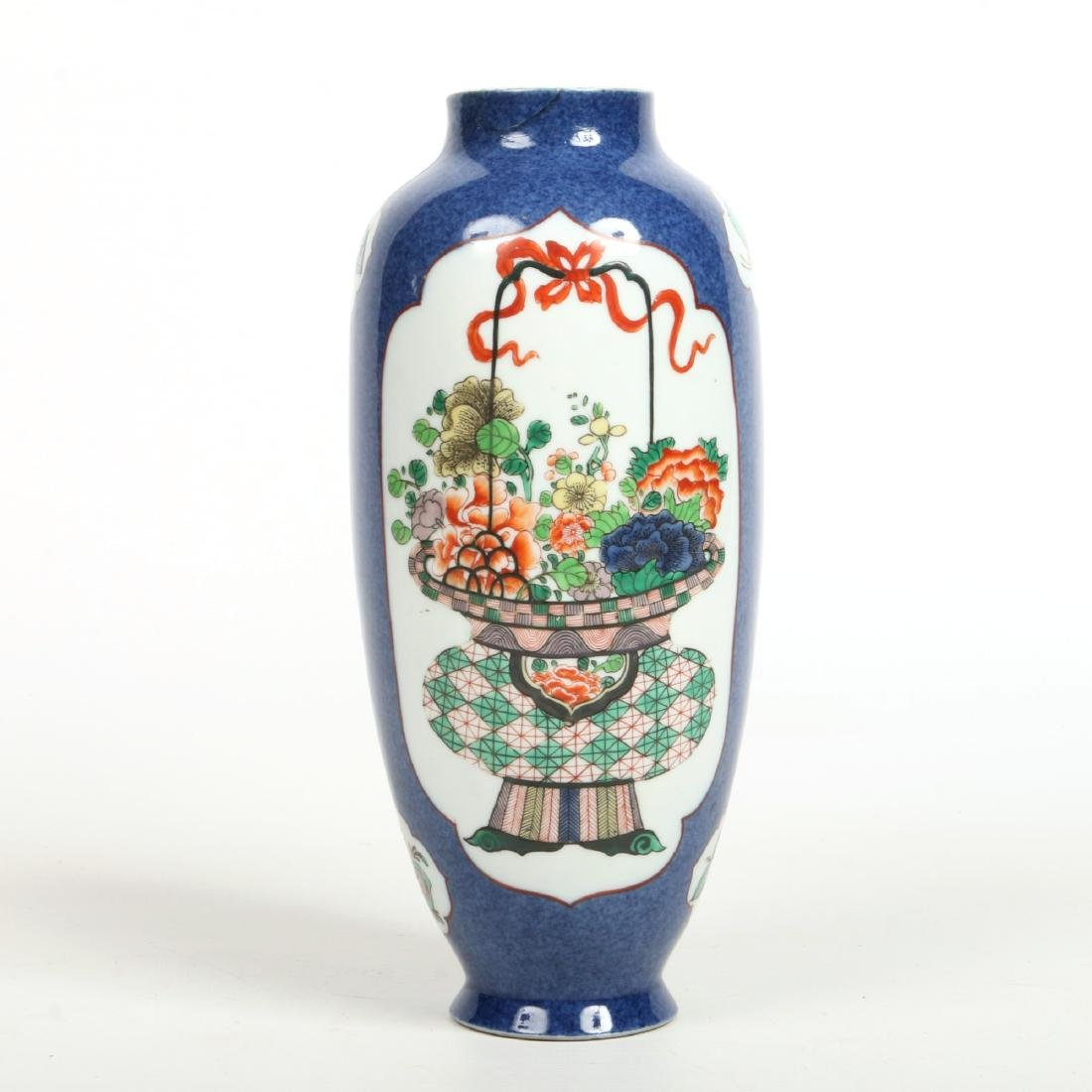 A 19th century Chinese Kangxi style powder blue ground