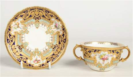 A fine and rare Royal Crown Derby twin handled bouillon