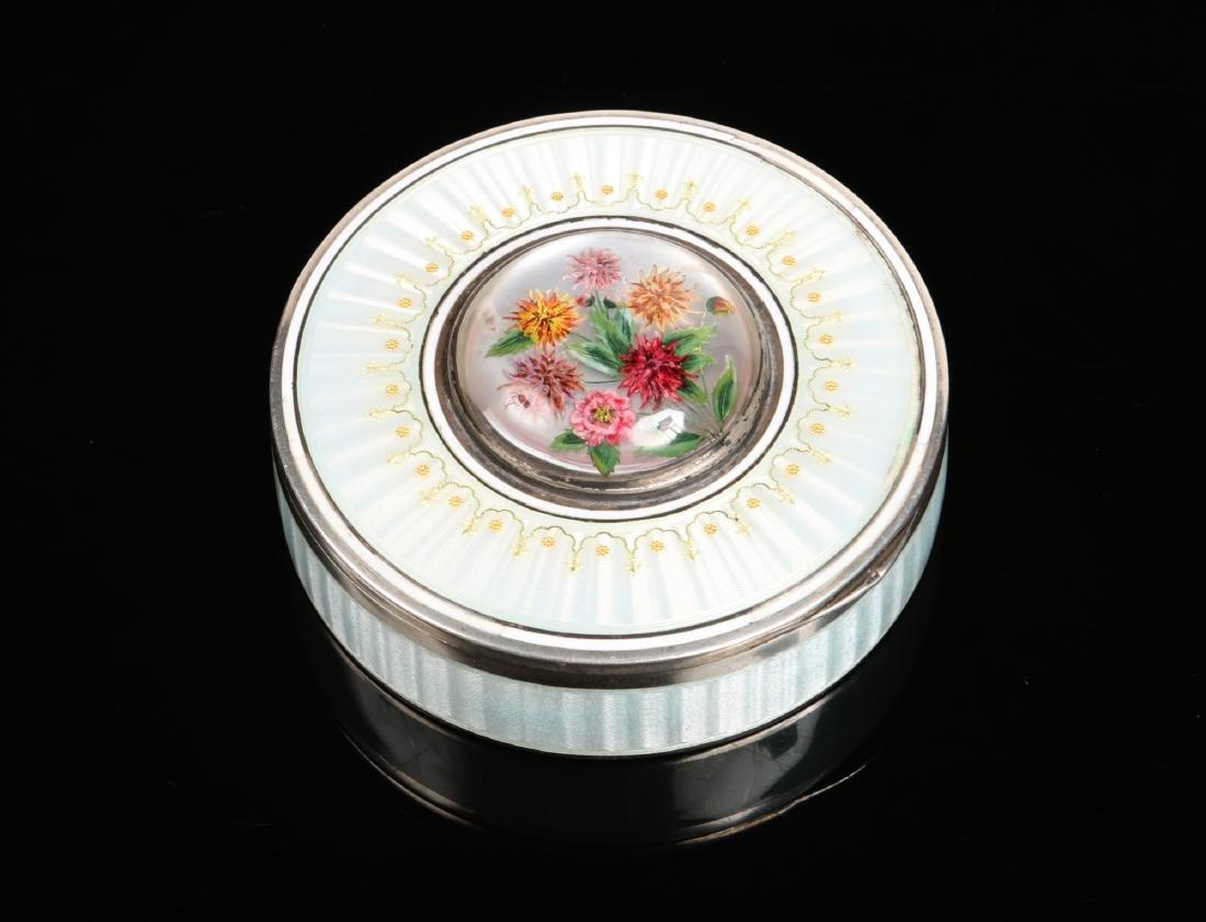 An early 20th century Continental silver circular box