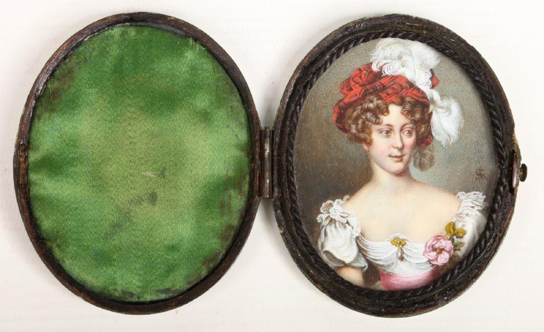 A Regency ivory portrait miniature in oval shagreen