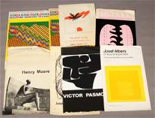 Eight art exhibition advertising posters, including