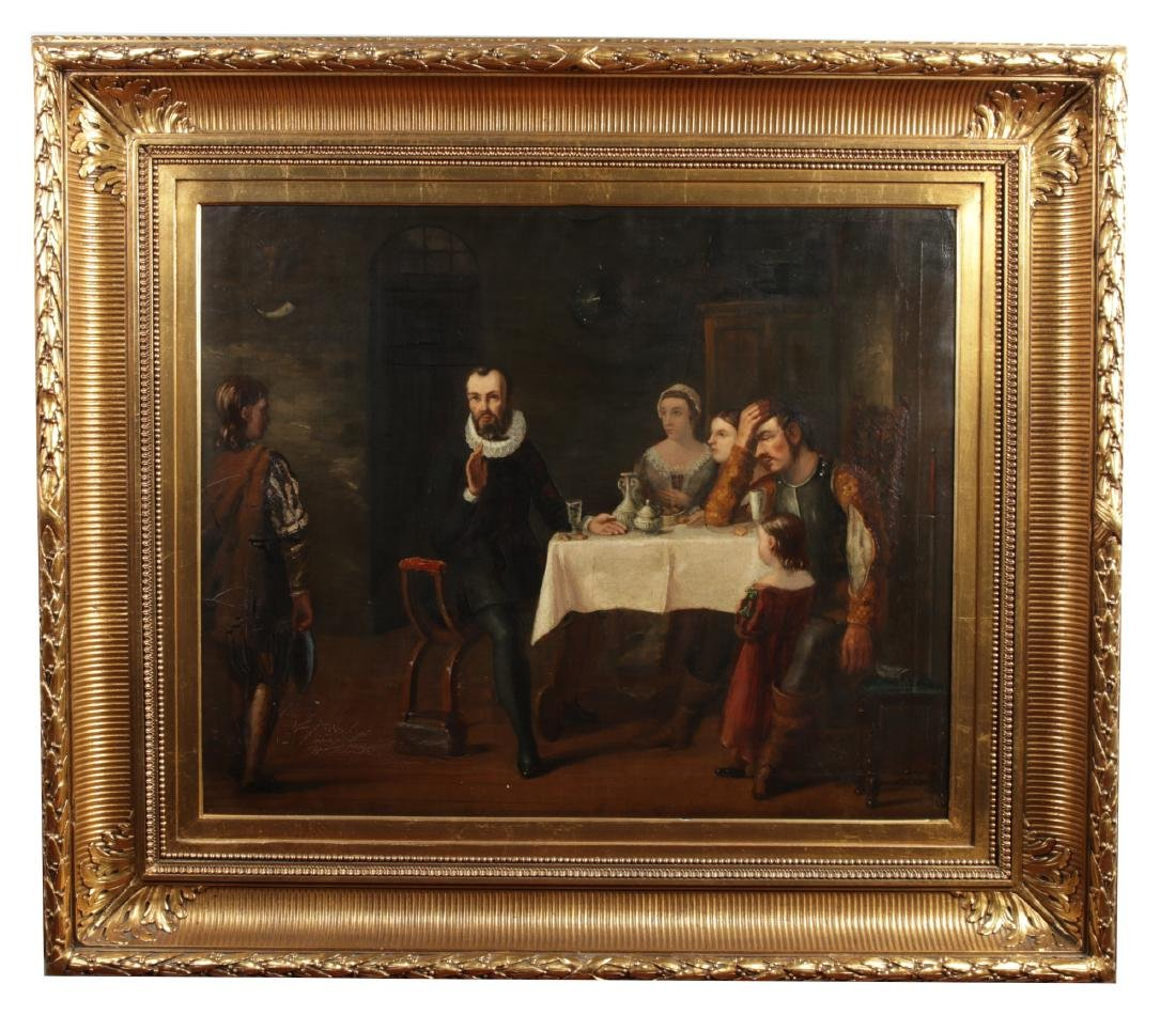 A 19th century large Continental school gilt framed oil