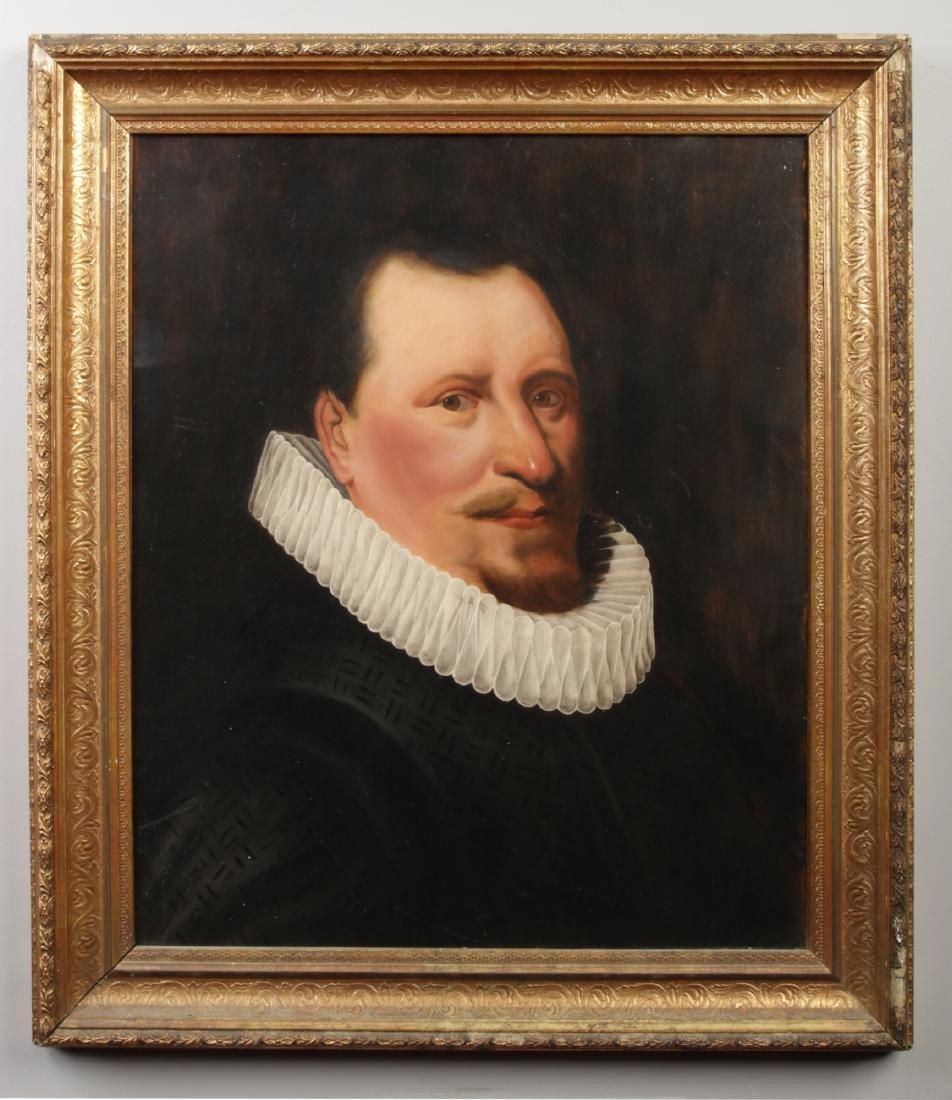 A 20th century gilt framed oil on board. Portrait of a