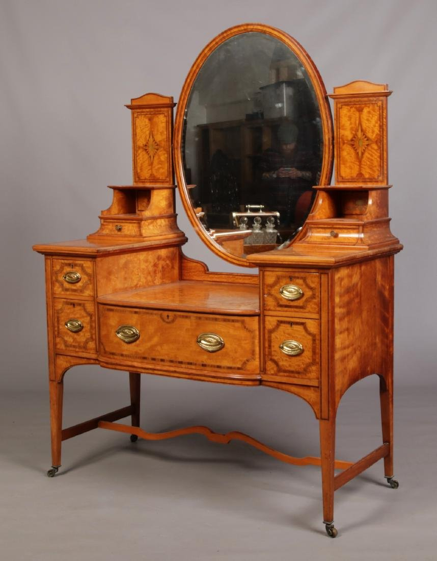 A Victorian Sheraton revival satinwood dressing table
