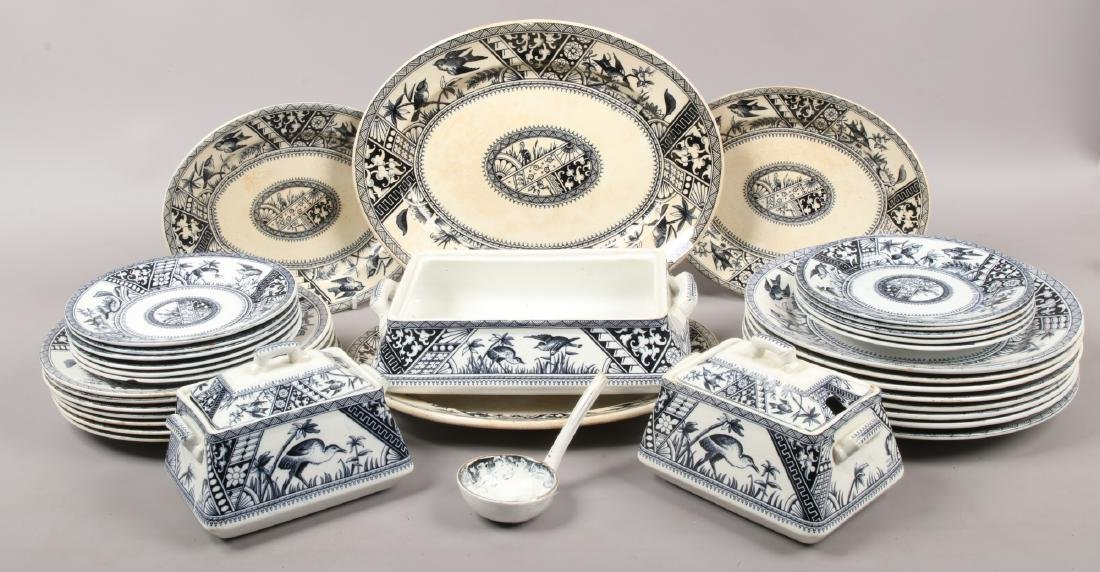 A Victorian part dinner service decorated in blue and