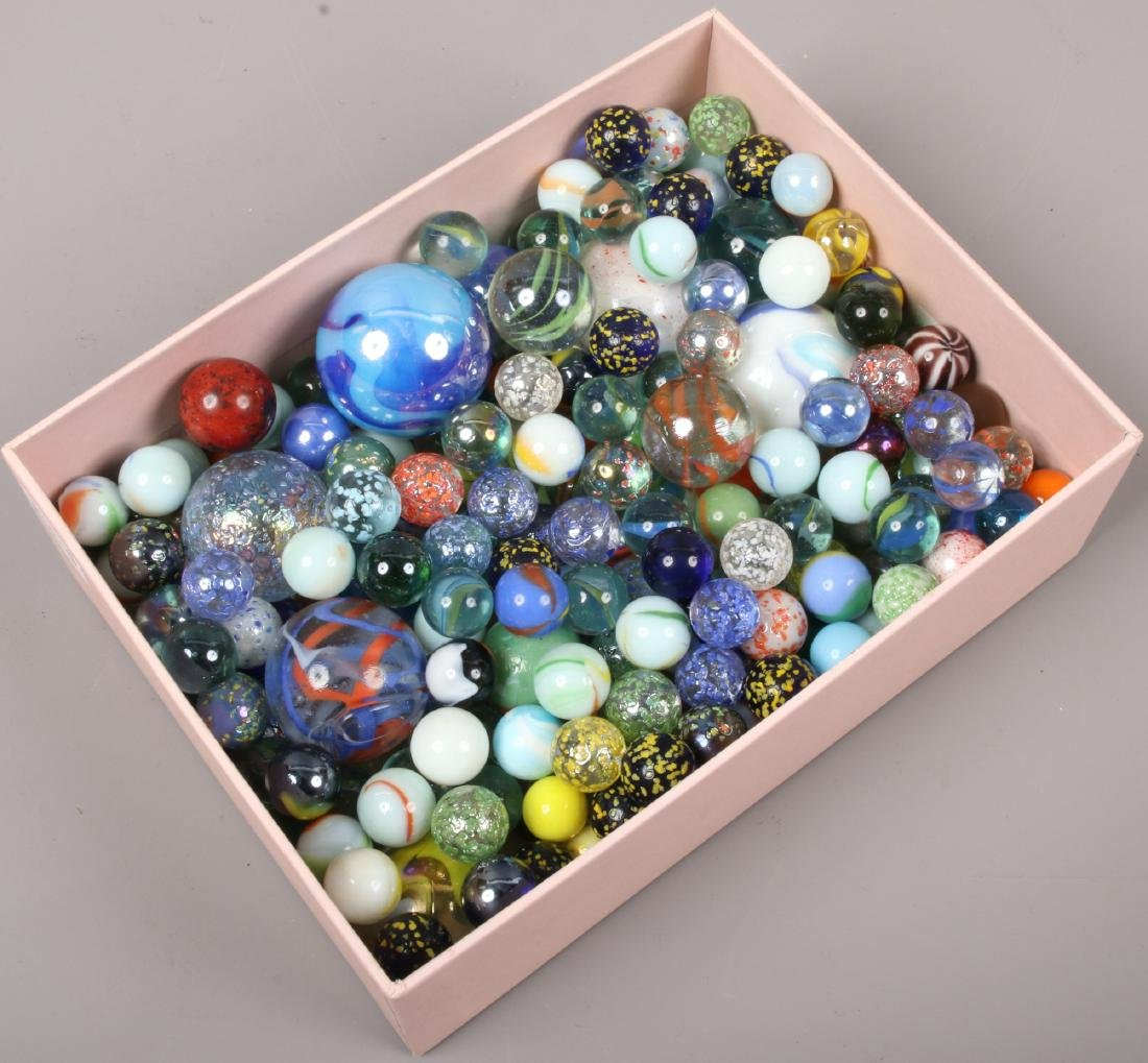 A box of glass marbles.