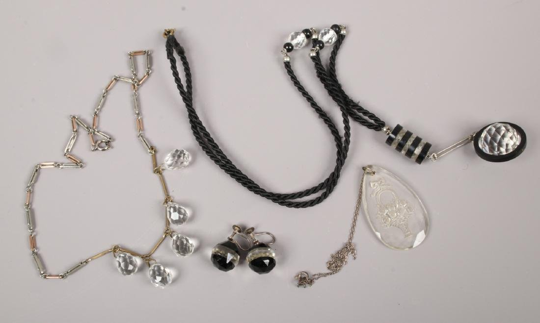 Three Deco crystal necklets and a pair of earrings.