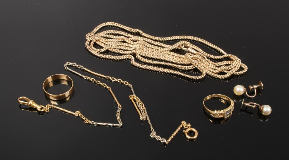 A quantity of yellow metal and gold jewellery including