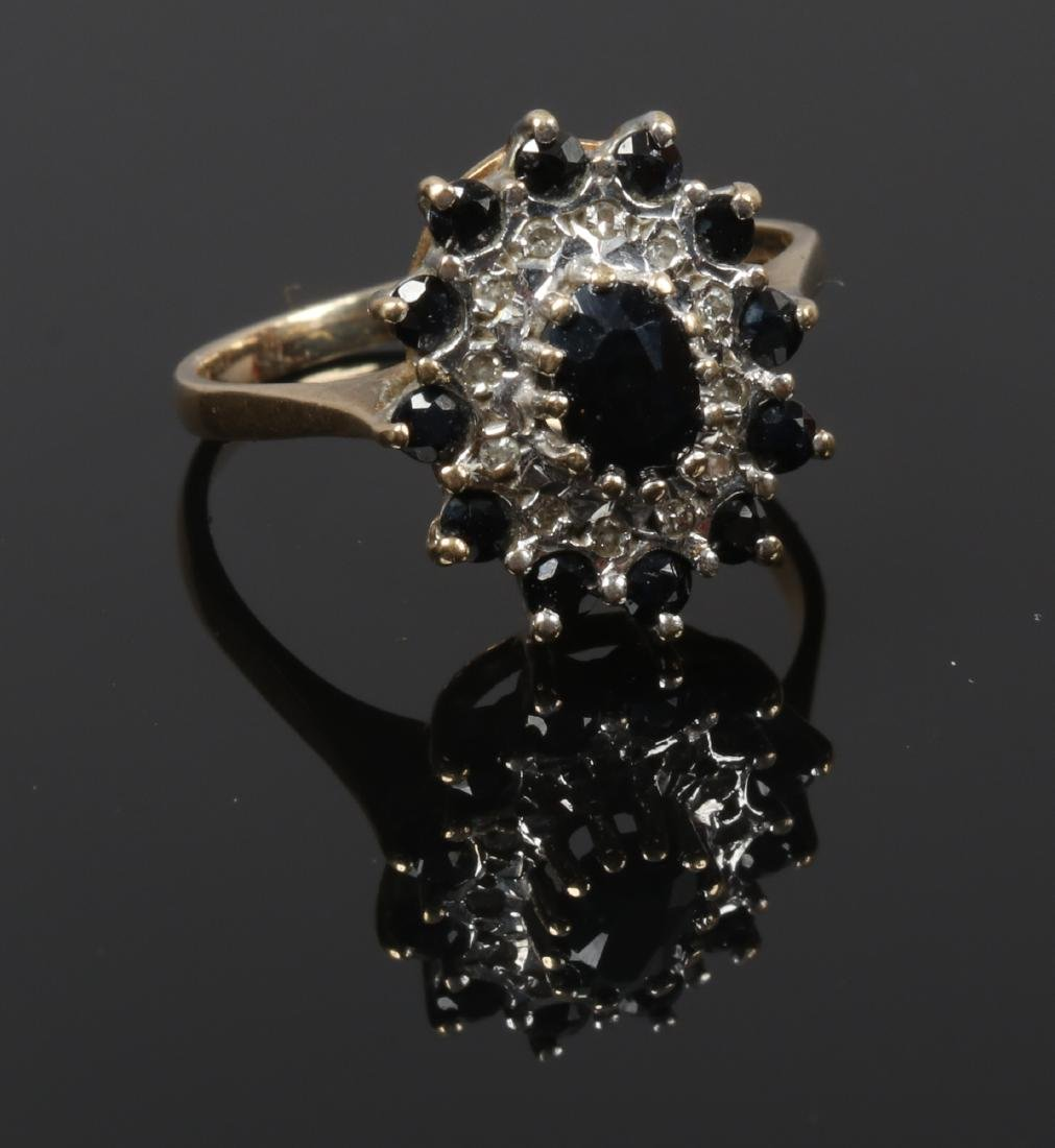 A 9ct gold sapphire and diamond cluster ring, size