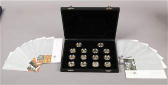 The Royal Mint a cased set of 18 silver and silver gilt