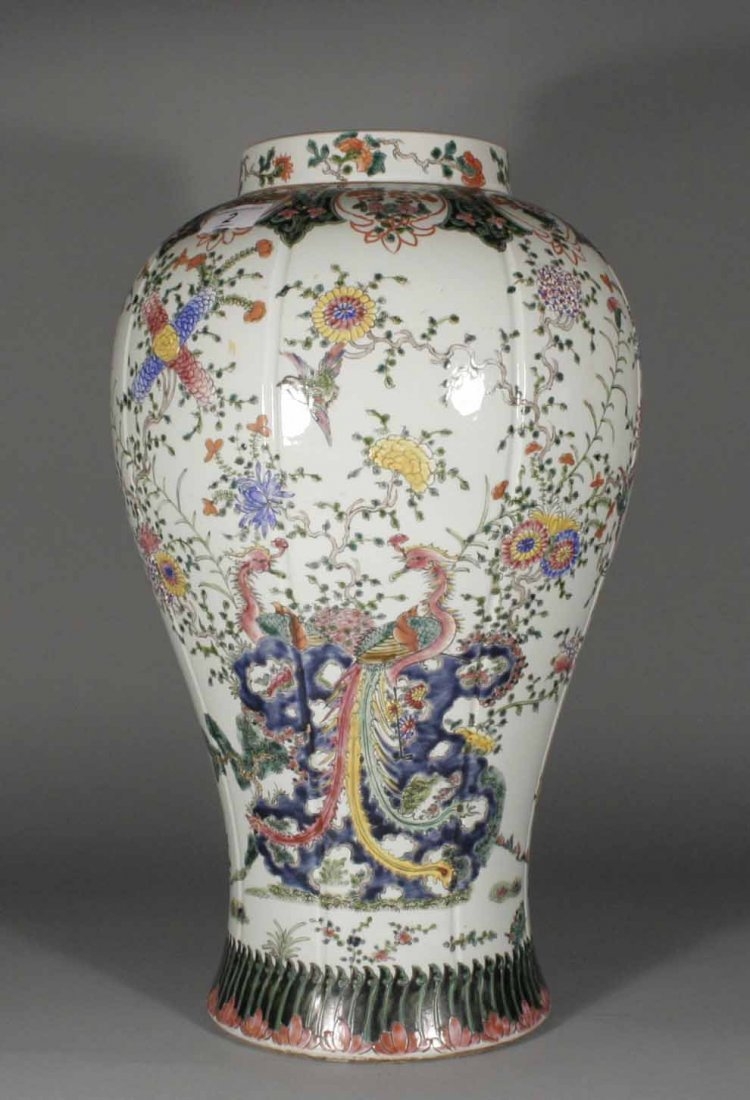 2: A Chinese baluster hall vase painted in polychrome e