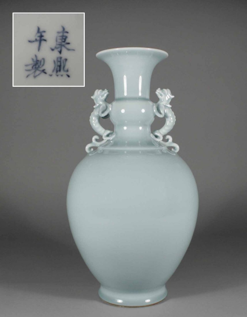 21: A large antique Chinese ovoid vase with Gu shaped n