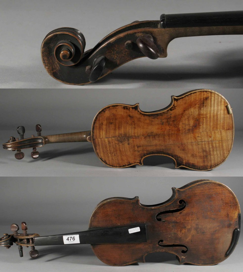 476: An early nineteenth century violin in case, 14.25'