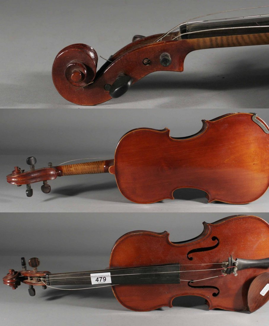 479: An early twentieth French 3/4 violin in case, 13''