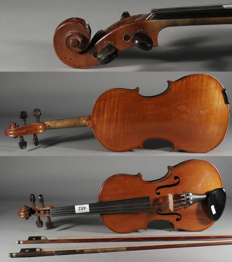 482: An English violin label reads 'The Apollo' Rushwor