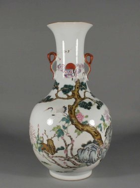 1: A Chinese vase with globular body and cylindrical ta