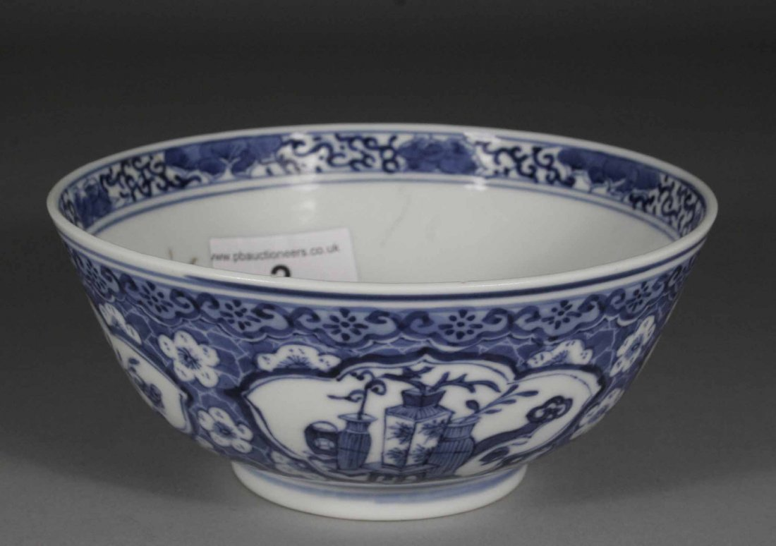 3: A Chinese slop bowl, decorated in underglaze blue wi
