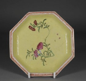 4: An eighteenth century Chinese octagonal saucer yello