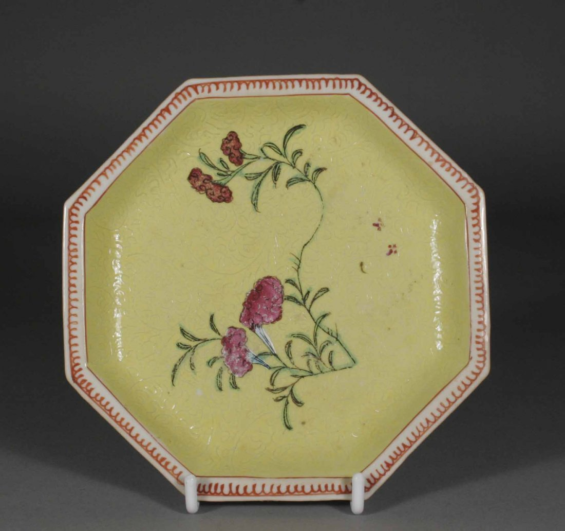 4: An eighteenth century Chinese octagonal saucer yello
