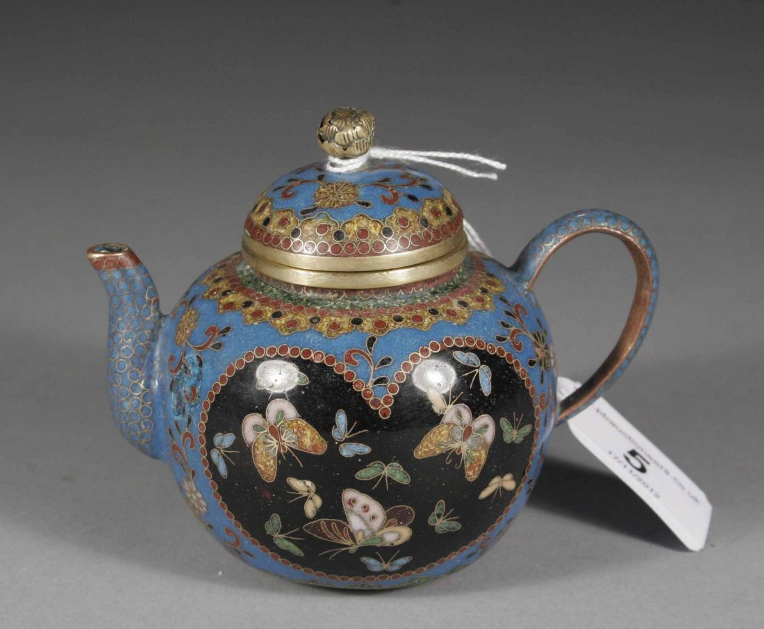 5: A small Chinese blue ground cloisonne tea pot and co