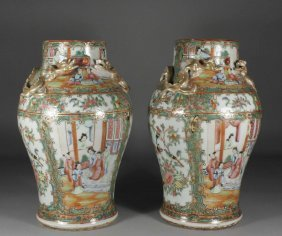 A Pair Of Nineteenth Century Cantonese Baluster Vase