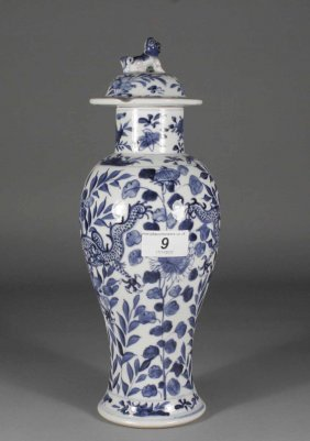 9: A Chinese baluster jar and cover painted in undergla