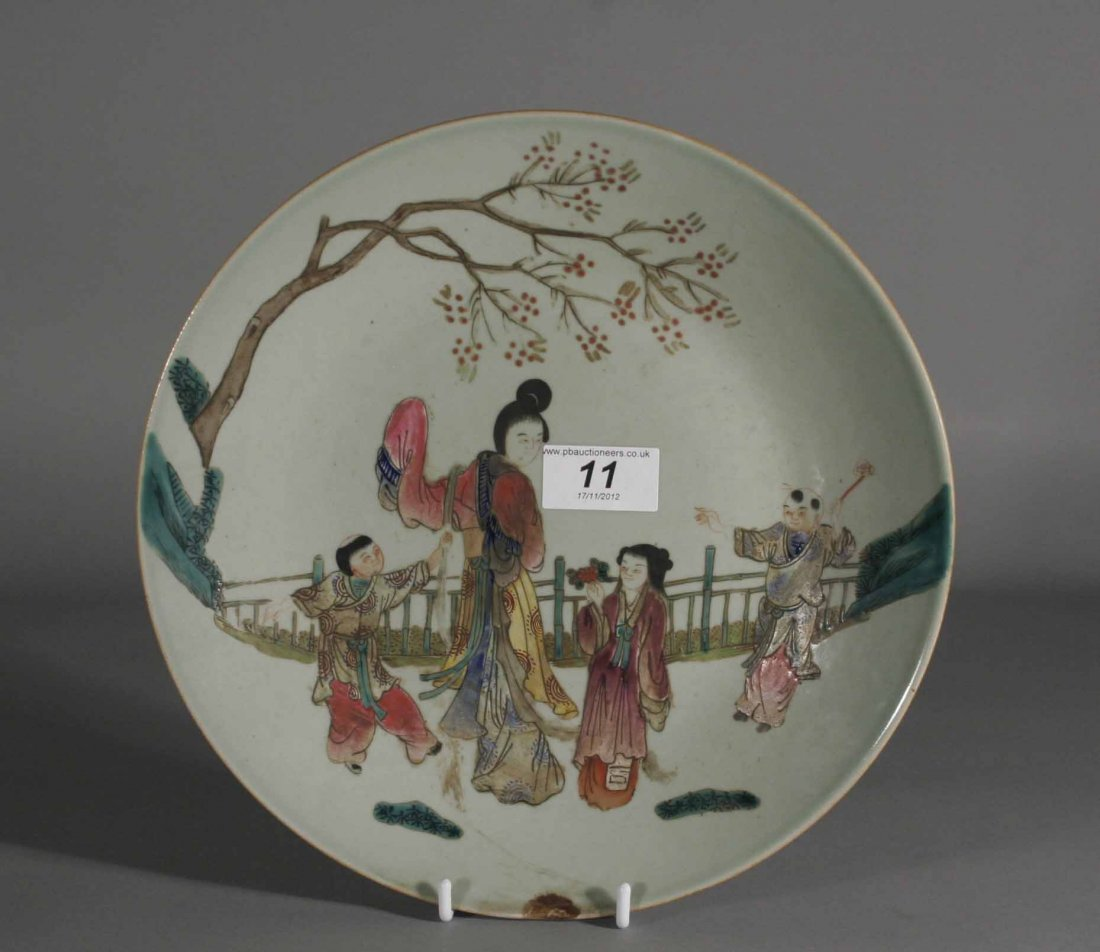 11: A nineteenth century Chinese Celadon dish decorated
