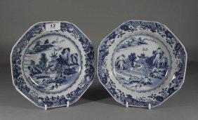 A Pair Of Eighteenth Century Chinese Octagonal Dish