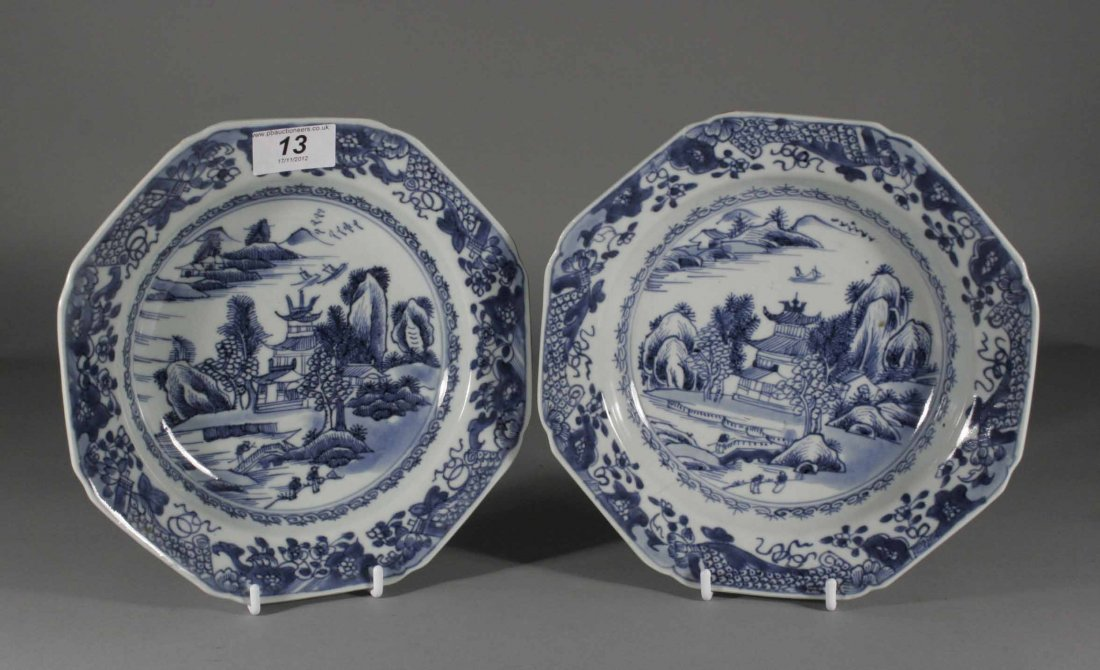 13: A pair of eighteenth century Chinese octagonal dish