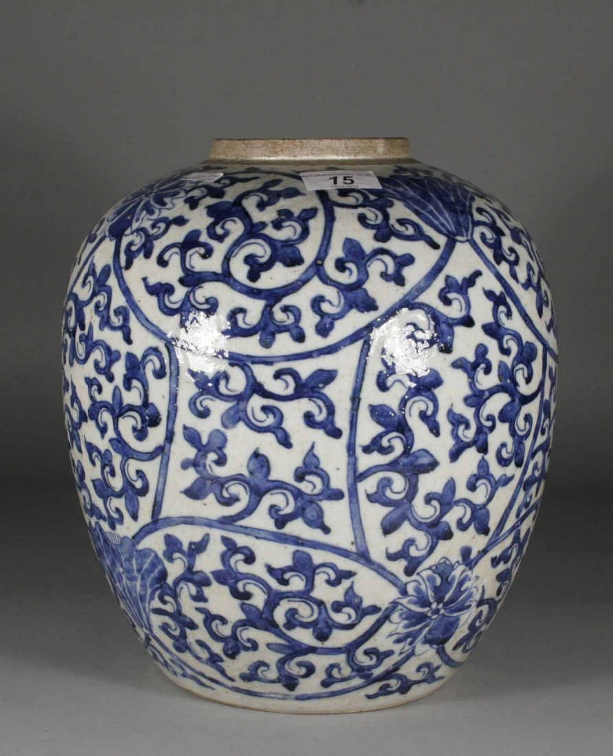 15: An antique Chinese blue and white ginger jar painte