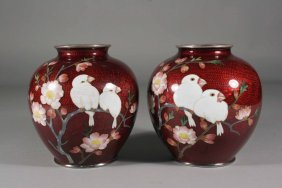 18: A pair of Japanese Meiji period cloisonne vases of