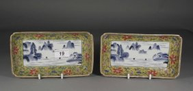 A Pair Of Nineteenth Century Chinese Dishes Of Rect
