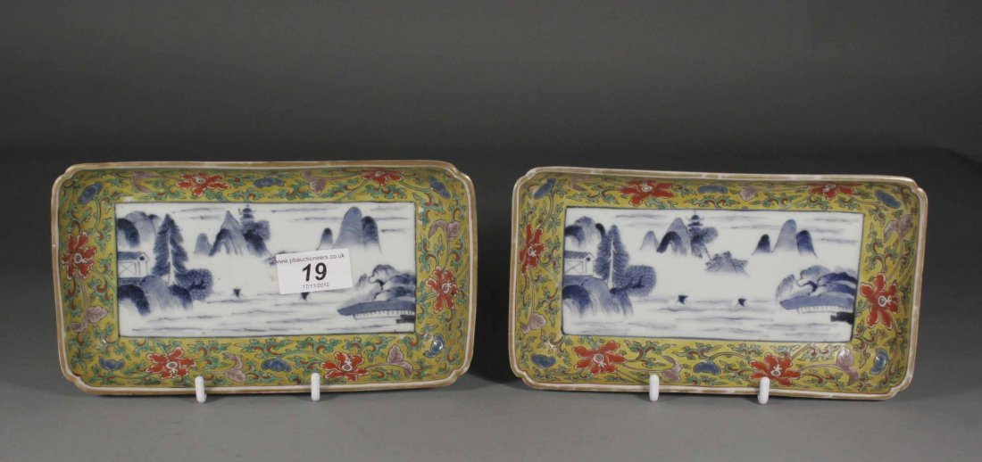 19: A pair of nineteenth century Chinese dishes of rect